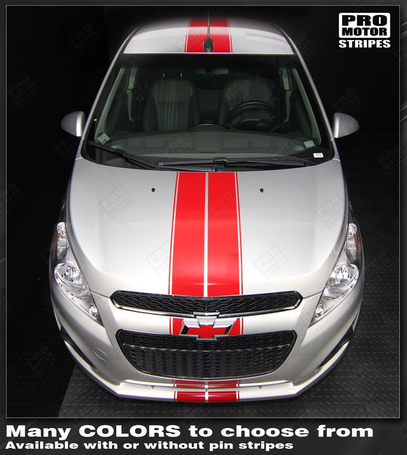 Chevrolet Spark 2013 2014 2015 Over The Top Double Center Stripes