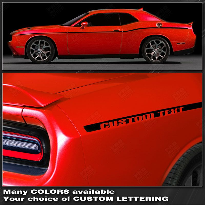 Dodge Challenger Extended Side Double Stripes Decals 2011 2012 2013 2014
