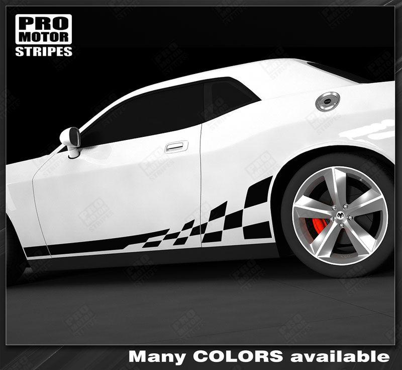 Dodge Challenger Rocker Panel Strobe Stripes Decals 2011 2012 2013 2014 Pro Moto