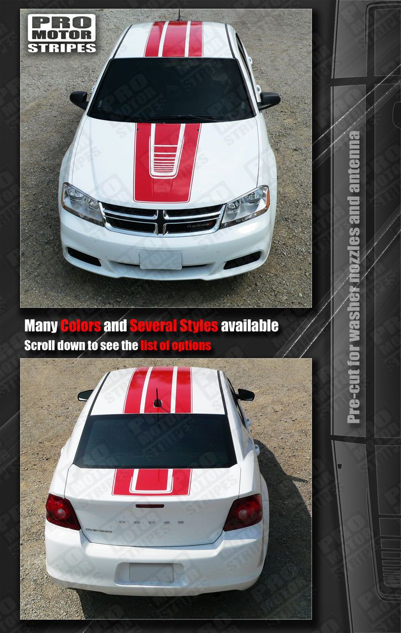 Dodge Avenger Rally Stripes Hood Roof Trunk Decals 2011