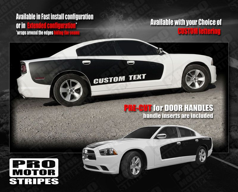 Dodge Charger 2015 2016 2017 2018 2019 Side Offset Over-The-Top Stripes Decals
