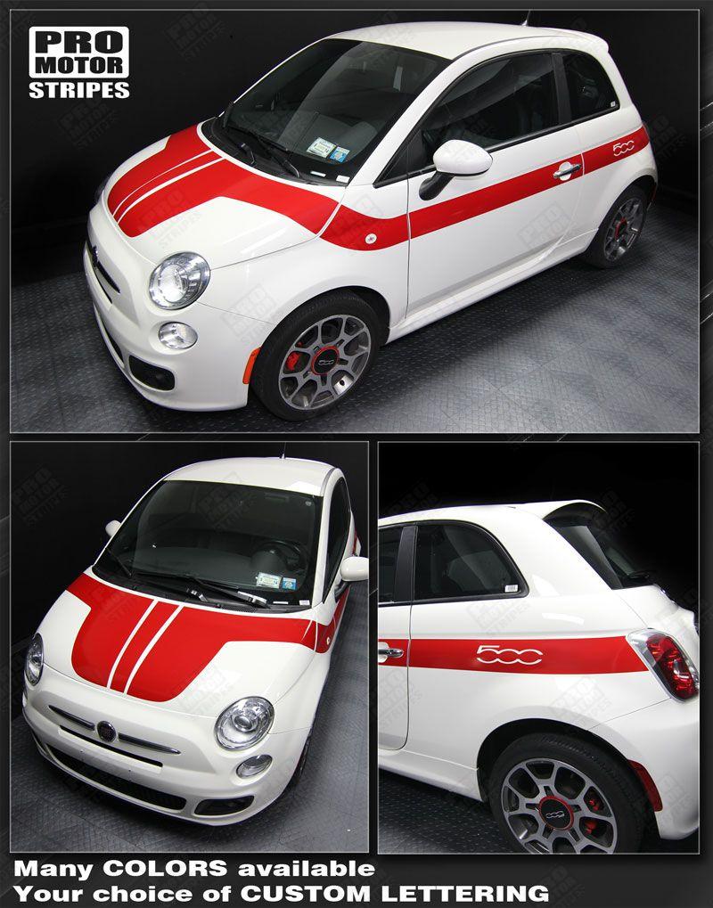 Fiat 500 2007-2015 Rear Quarter Side Stripes Decals Choose Color
