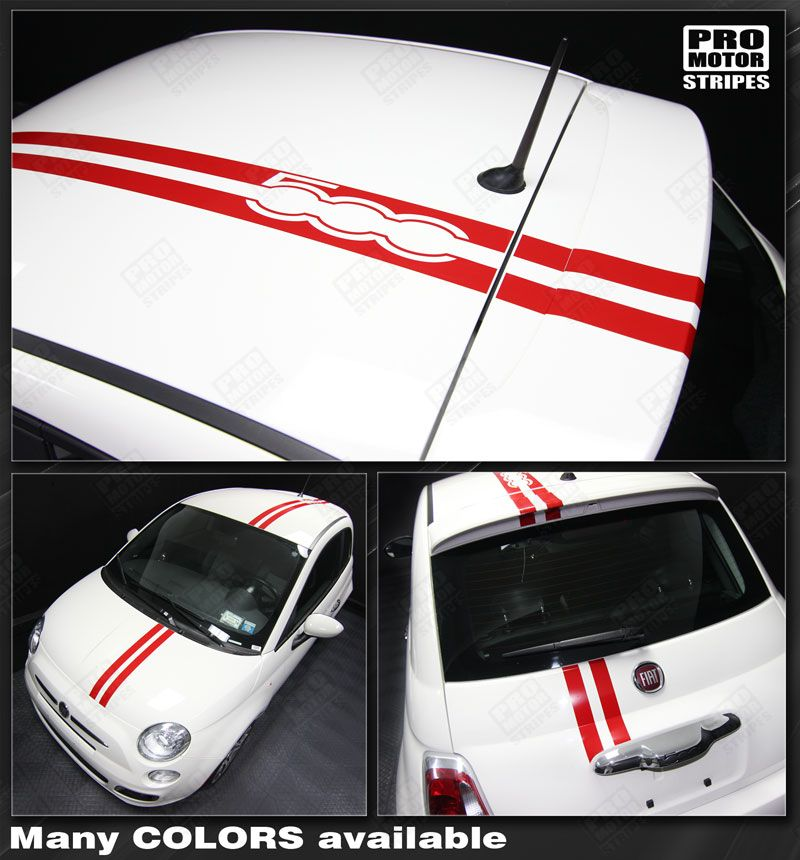 Choose Color Fiat 500 2007-2015 Over-The-Top Double Stripes Decals