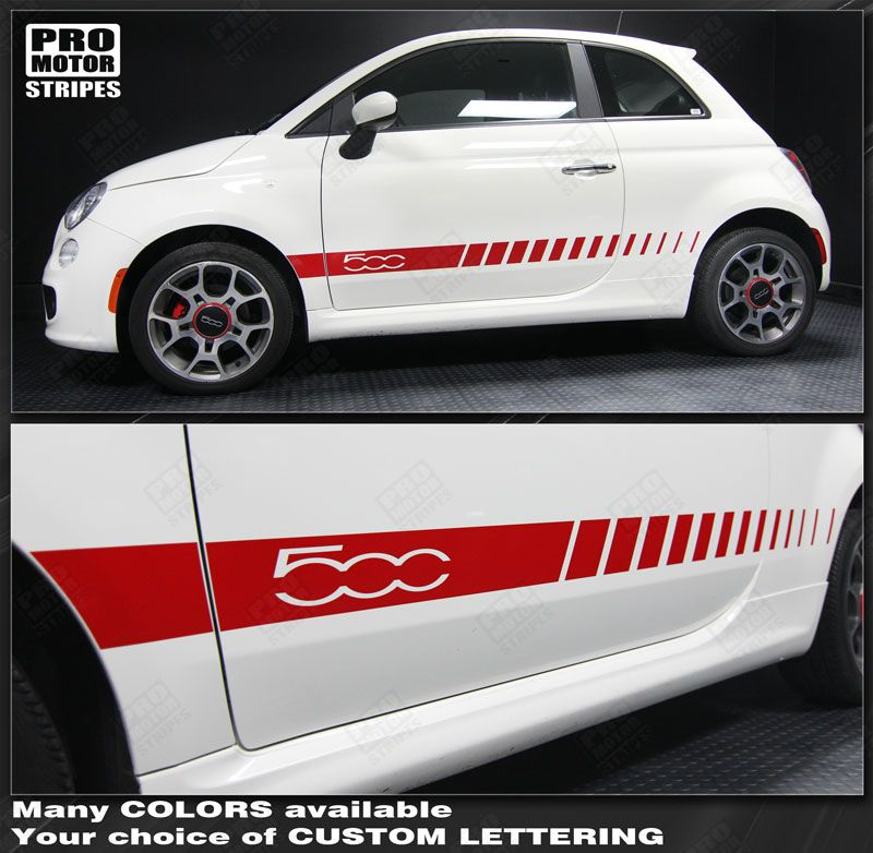 Fiat 500 Rocker Panel Side Stripes Decals 2012 2013 2014