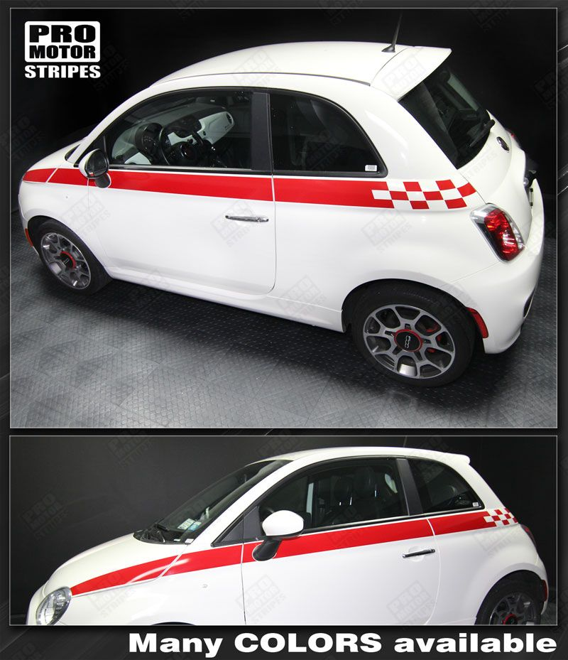 Fiat 500 Fender Hash Double Side Stripes Decals 2012 2013 2014 2015 Pro Motor