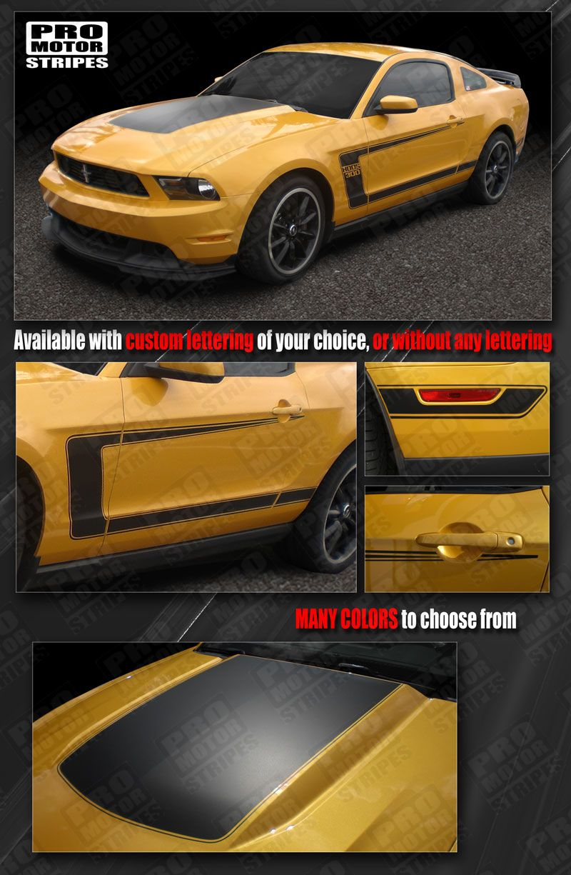 Details About Ford Mustang 2010 2017 Boss 302 Style Hood Side C Stripes Decals Choose Color