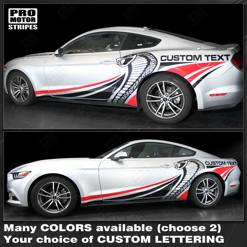 2015 Mustang Colors >> Ford Mustang 2015 2019 Cobra Style Multi Color Side Stripes Choose