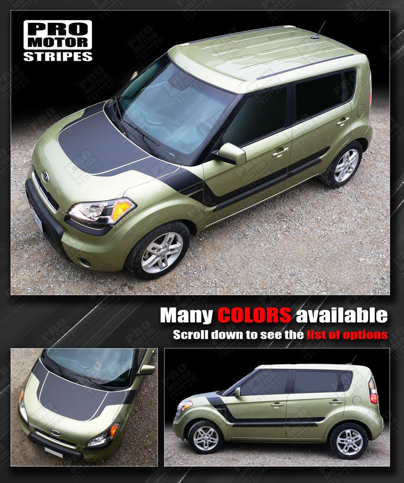For Kia Soul 2008 2016 Hood And Side Accent Sport Stripes