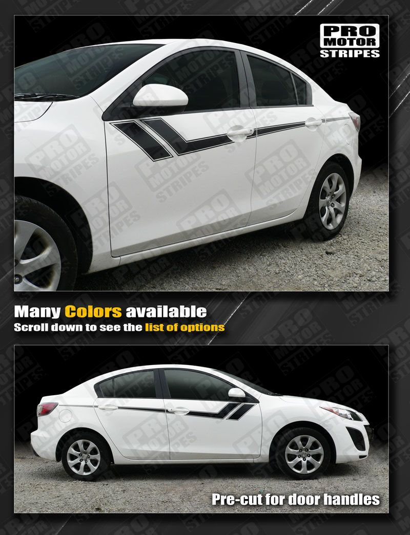 Details about mazda 3 2009 2013 thunderbolt hash accent side stripes decals choose color