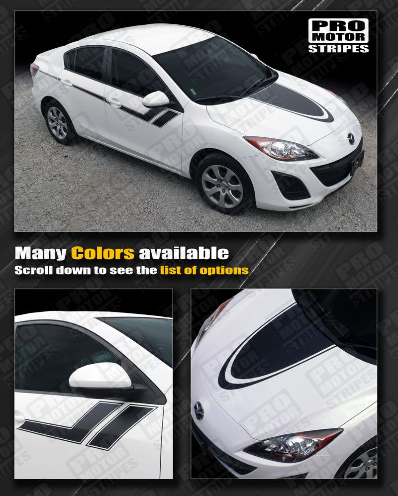 Details about mazda 3 2009 2013 hood and side sport hash stripes decals choose color
