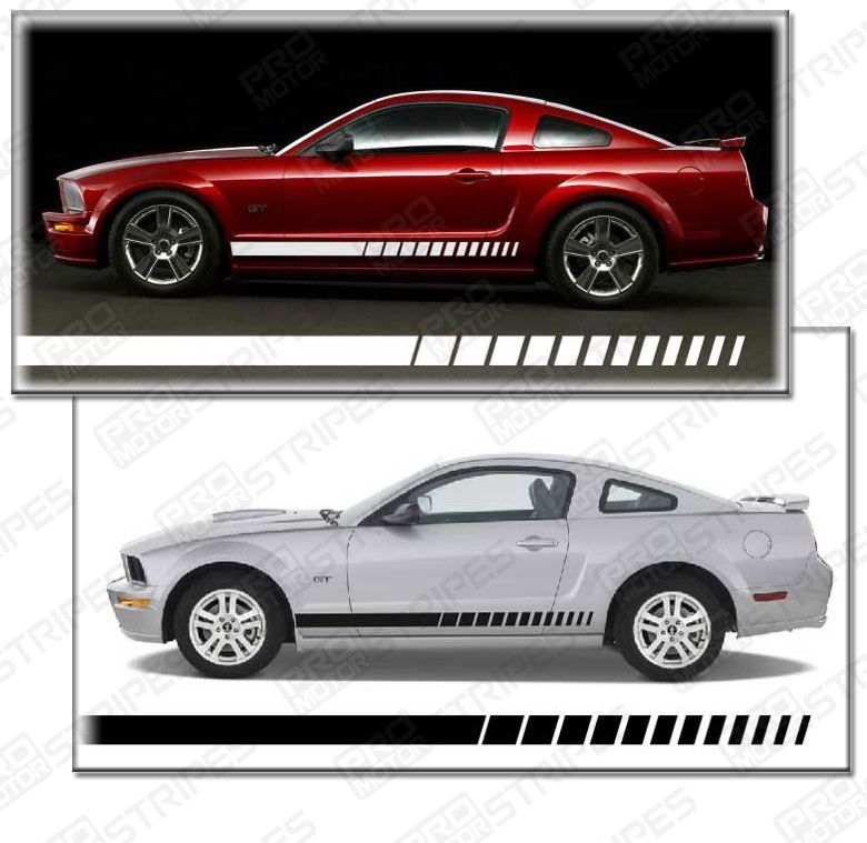 Style 2 :: Pink 4 Styles /& 20 Colors to Choose from Rocker Panel Stripes Side Racing Decals for Ford Mustangs of All Years